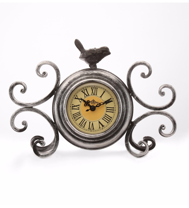 Brown Metal 10.6 x 2.8 x 6.7 Inch Glossy Bird Table Clock by @ Home
