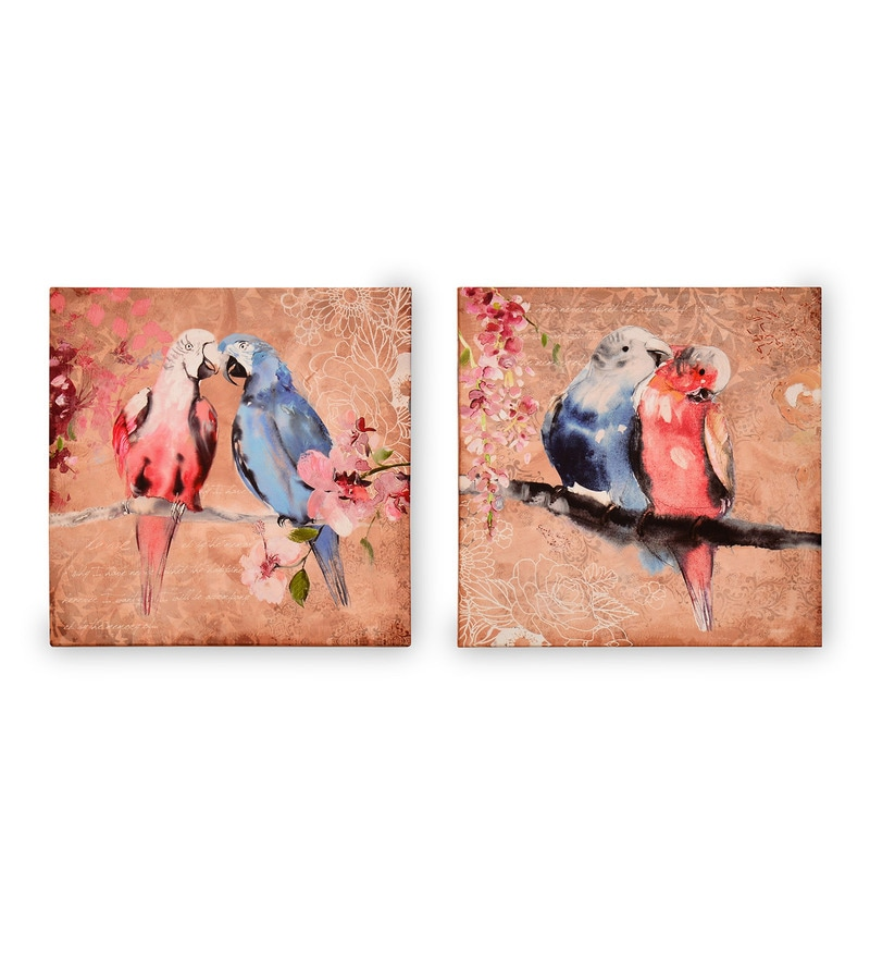 Canvas & MDF 7.9 x 1.2 x 7.9 Inch Earthy Birds Framed Art Panel - Set of 2 by @ Home