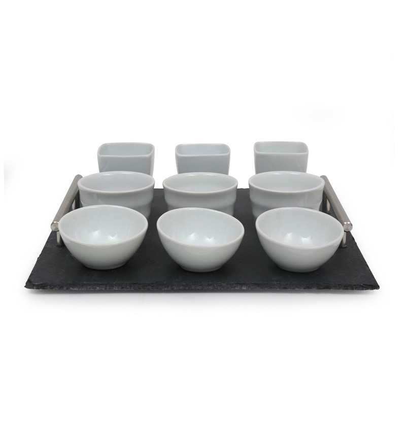 @ Home Trendy Rectangular Stoneware Serving Tray with Cups & Bowls - Set of 10