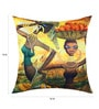 13 Odds Yellow Poly Taffeta 16 x 16 Inch Classic African Women Print & Embroidery Cushion Cover