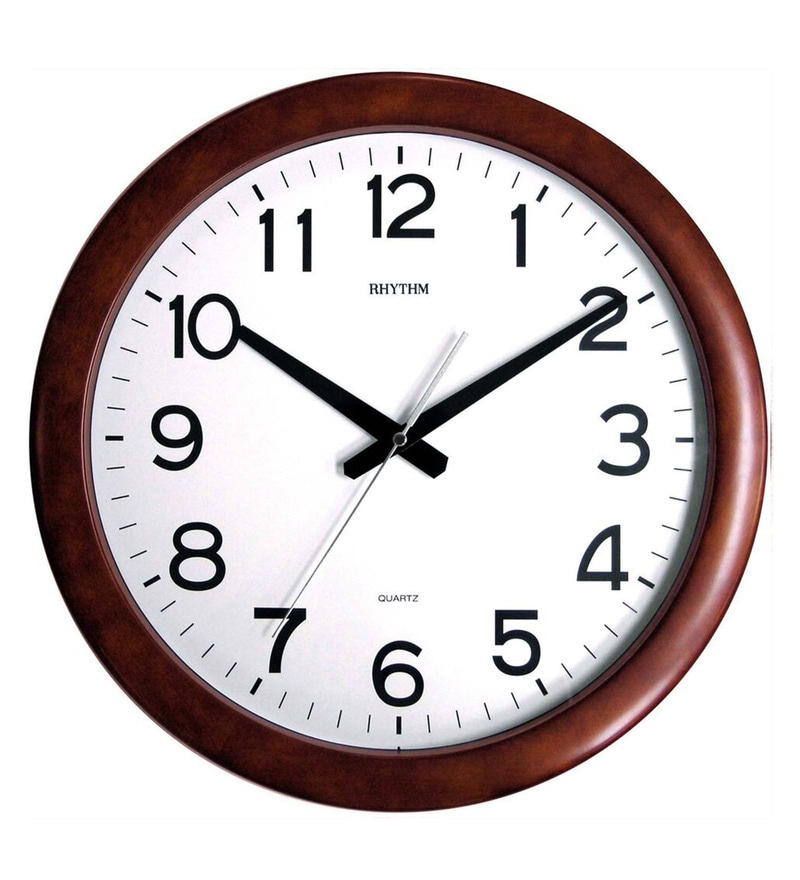 16.1 x 1.9 x 16.1 Inch Wall Clock Silent Silky Move Brown Case Clock by Rhythm