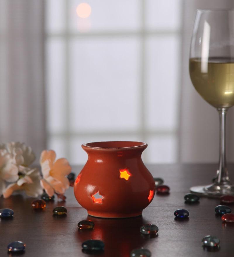 Orange Metal Tea Light Holder by Gupta Glass Gallery