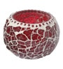 Red Metal Tea Light Holder by Gupta Glass Gallery