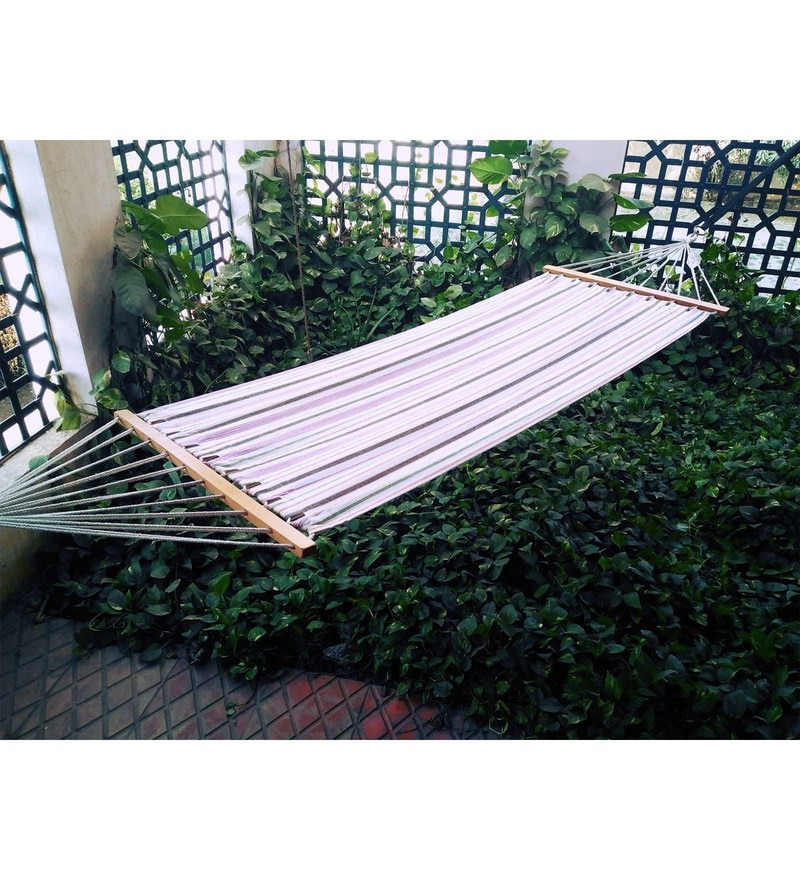 Cotton Canvas Hammock with Bars in Blue & Yellow Stripes by Hang It