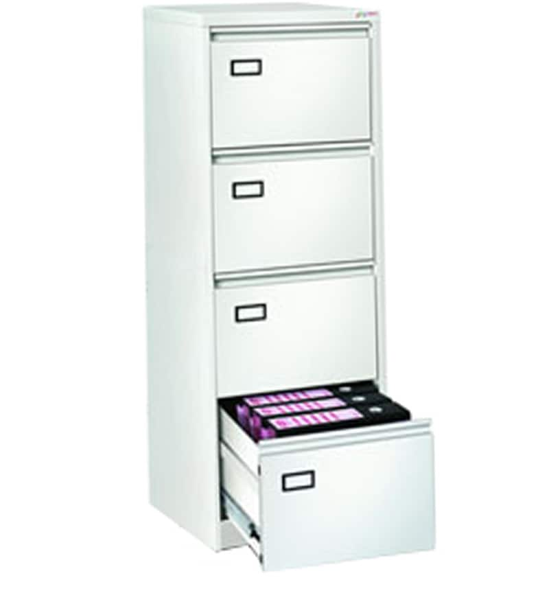 Four Drawer Vertical Filing Cabinet In White Finish By