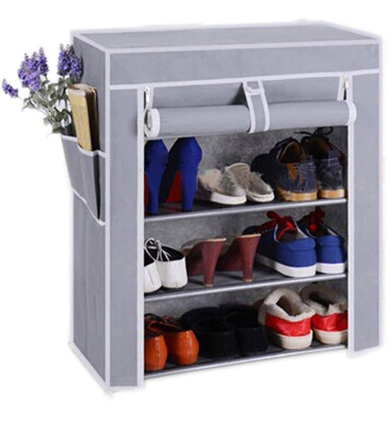 Pindia Fabric Grey 4-Layer Shoe Rack