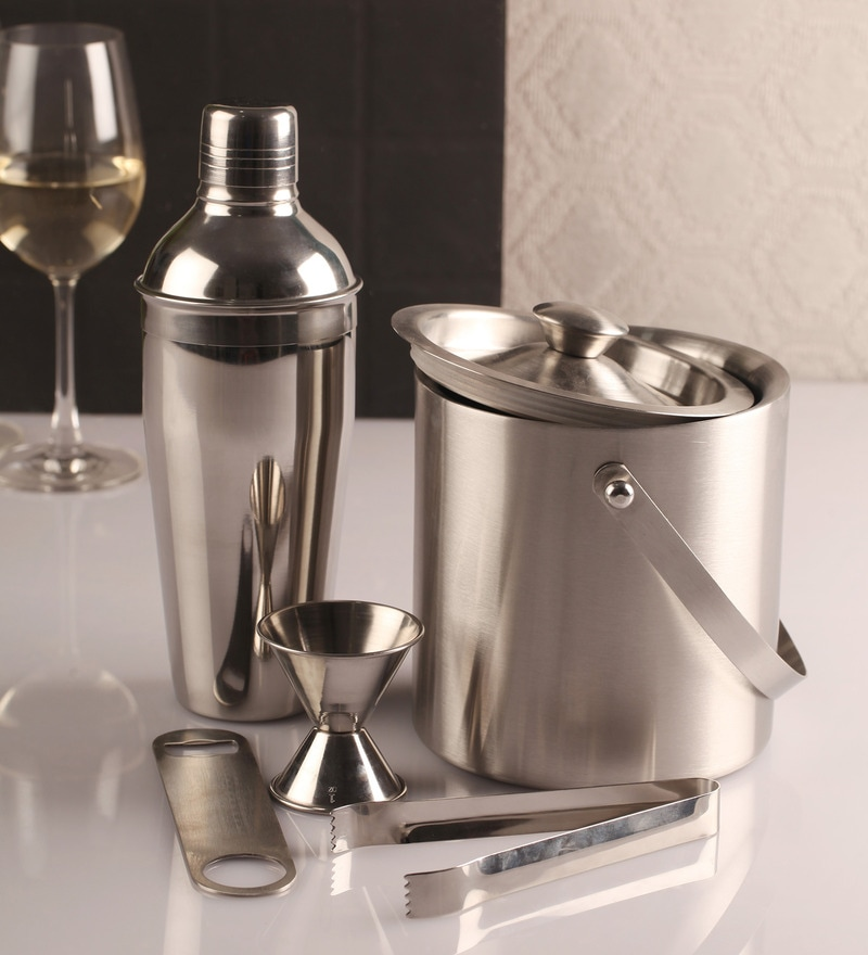 3 piece Bar set (Large) - Cocktail shaker, Ice Tong, Ice bucket