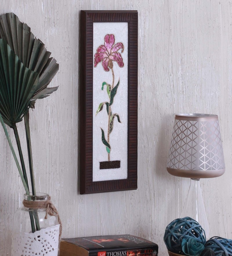 Bead & Sequin 5.8 x 0.8 x 15.3 Inch Flower Wall Art Framed by ClasiCraft