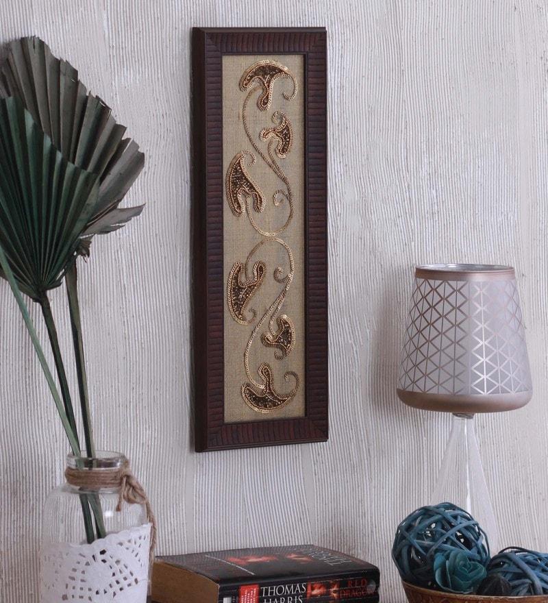 Raw Silk 5.8 x 0.8 x 15.3 Inch Modern Paisley Wall Art Framed by ClasiCraft