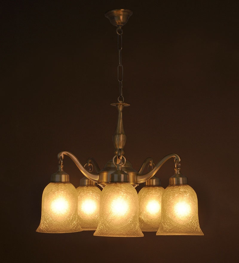 Beautifully Crafted Brass & Glass Chandelier