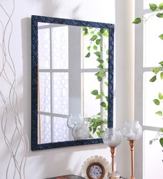 Blue Wooden Handmade Decorative Mirror