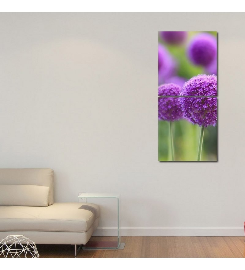 Sun Board 15 x 17 Inch Round Purple Flowers Durable Painting - Set of 2 by 999Store