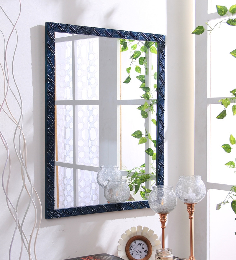 Blue Wooden Handmade Decorative Mirror by 999Store