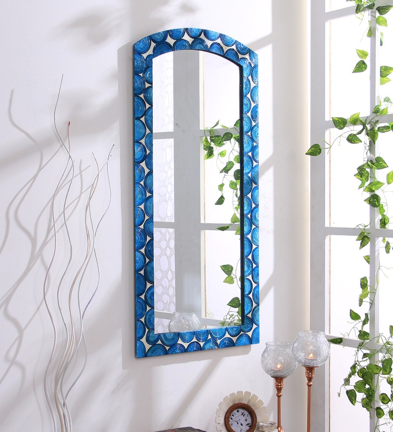 Blue Wooden Hand Crafted Painted Decorative Wall Mirror by 999Store