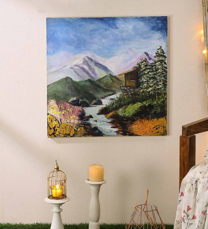 Canvas 23 x 1 x 23 Inch Village Art Mountain Hut River Handmade Acrylic Painting by 999Store