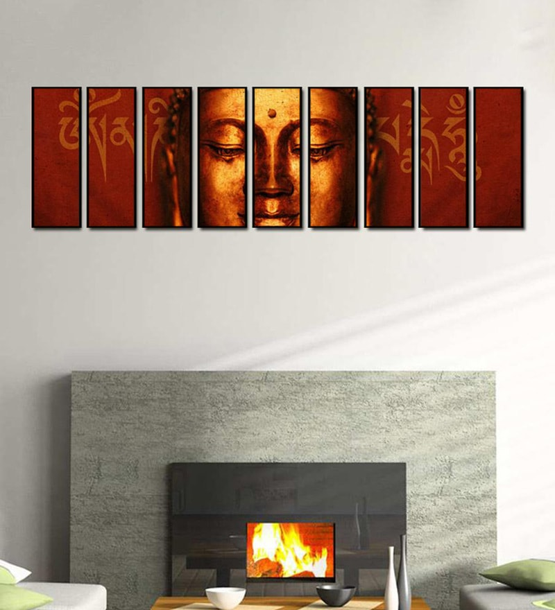 Fibre 103 x 0.8 x 30 Inch Buddha Face with Sanskrit Om Mani Padme Hum Framed Art Panels - Set of 9 by 999Store