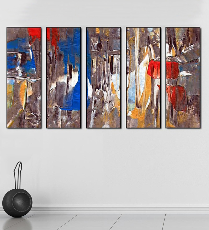 Fibre 59 x 0.8 x 30 Inch Abstract Framed Art Panels - Set of 5 by 999Store