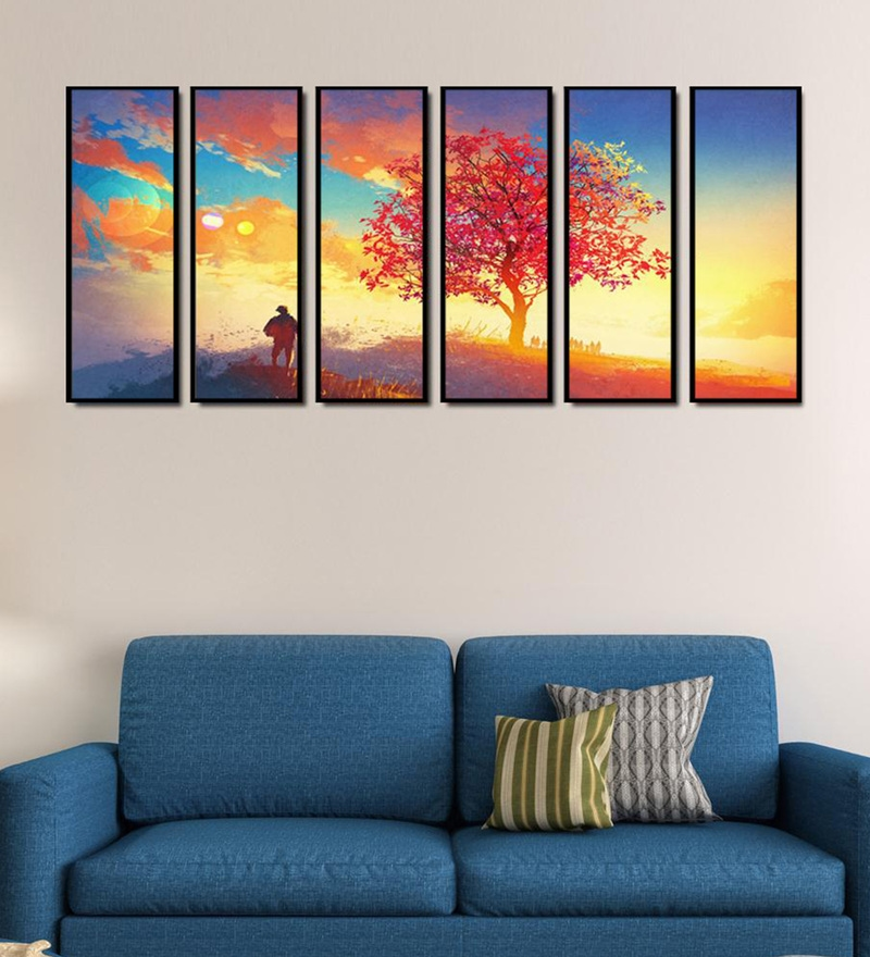 Fibre 70 x 0.8 x 30 Inch Autumn Tree Framed Art Panels - Set of 6 by 999Store