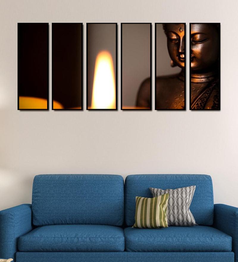 Fibre 70 x 0.8 x 30 Inch Buddha Preaching Framed Art Panels - Set of 6 by 999Store
