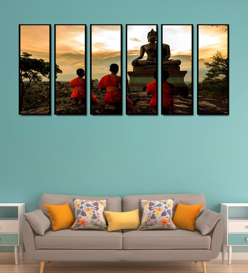 Fibre 70 x 0.8 x 30 Inch Buddha Statue Framed Art Panels - Set of 6 by 999Store