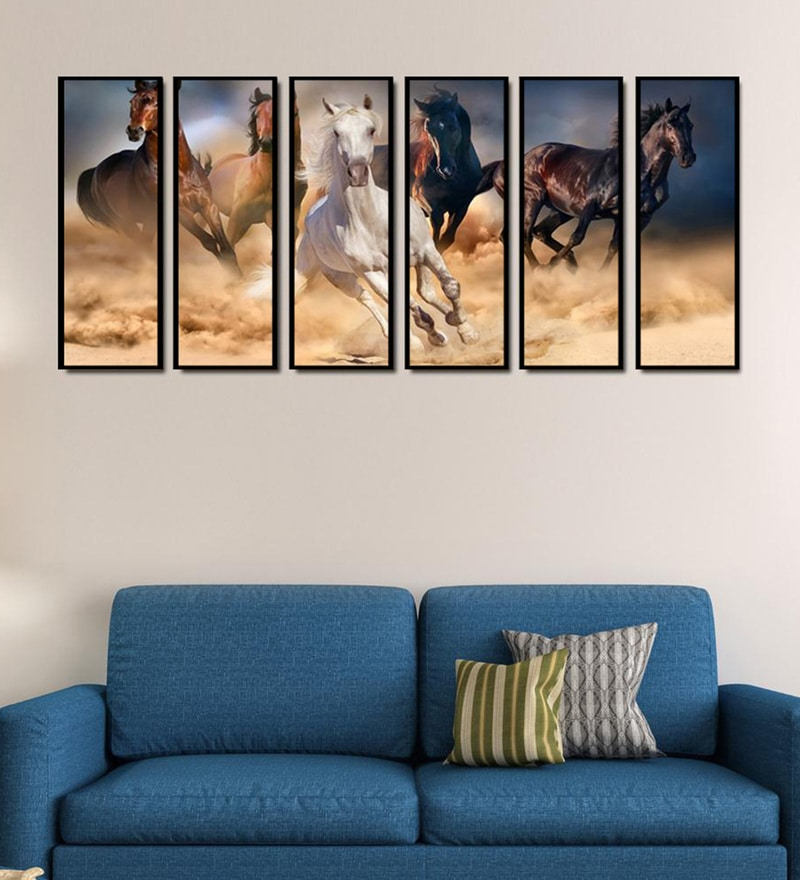 Fibre 70 x 0.8 x 30 Inch Five Horses Framed Art Panel - Set of 6 by 999Store