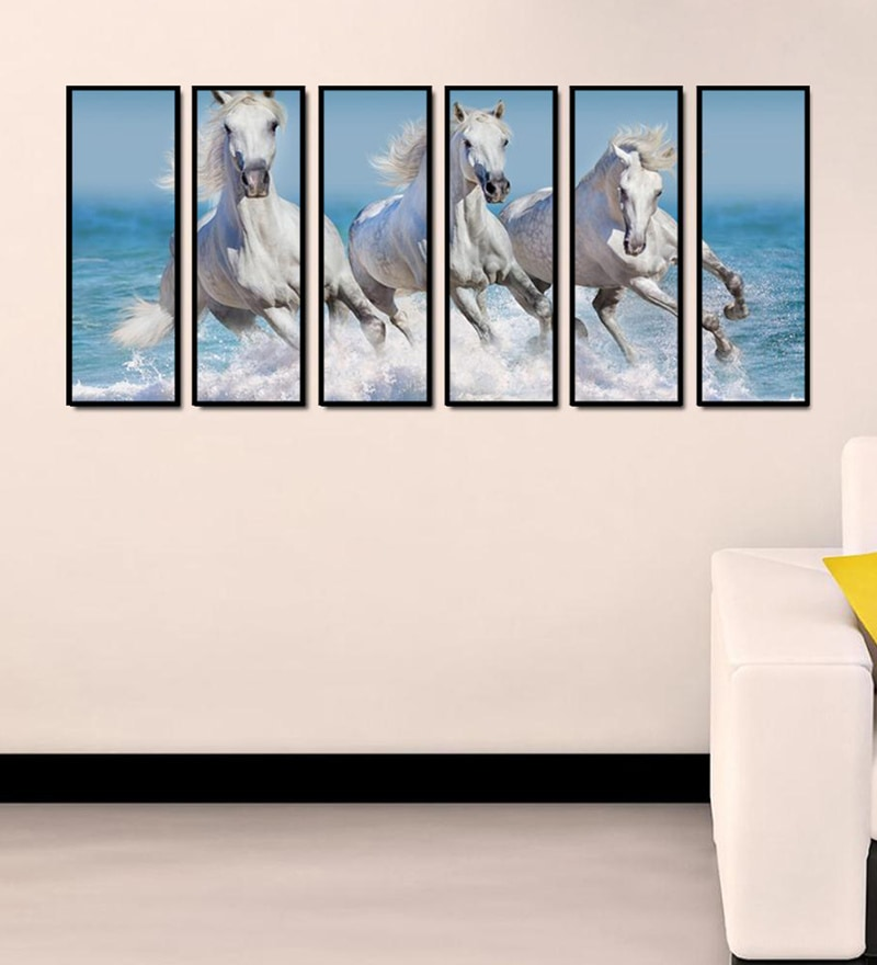 Fibre 70 x 0.8 x 30 Inch Horse Framed Art Panel - Set of 6 by 999Store