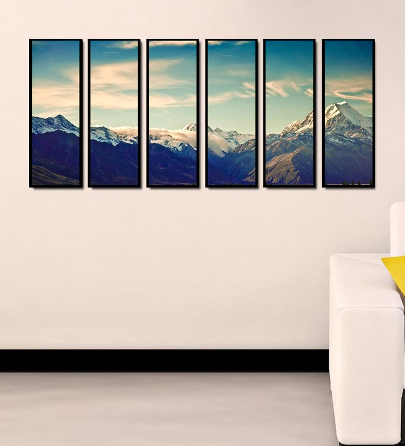 Fibre 70 x 0.8 x 30 Inch Icy Mountain Hills Framed Art Panels - Set of 6 by 999Store
