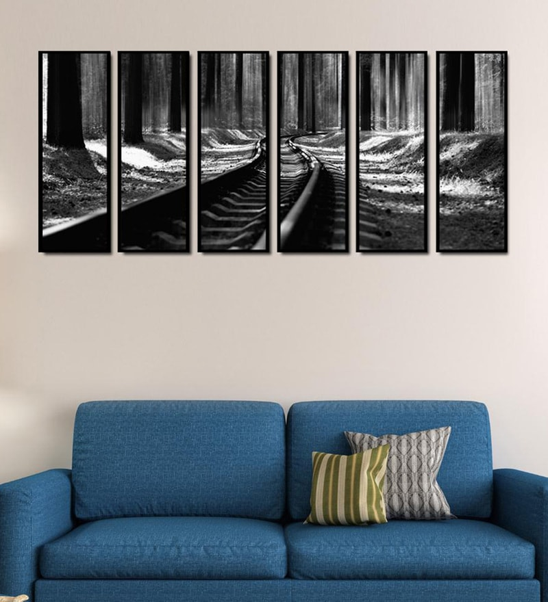 Fibre 70 x 0.8 x 30 Inch Train Track Framed Art Panels - Set of 6 by 999Store