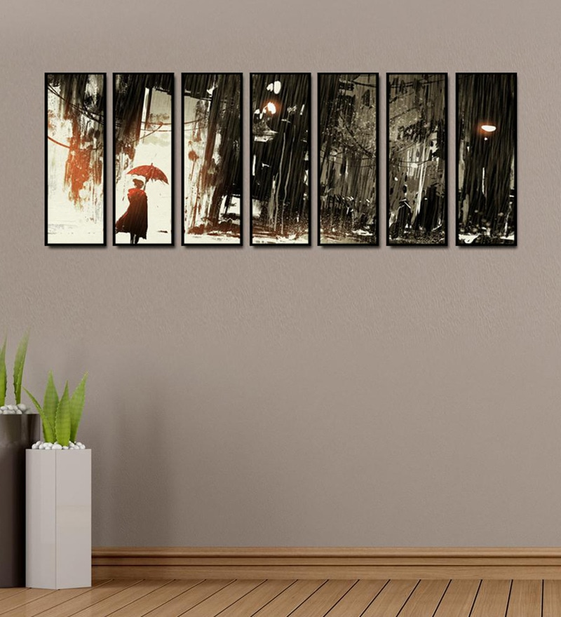 Fibre 81 x 0.8 x 30 Inch Lonely Woman with Umbrella Framed Art Panels - Set of 7 by 999Store