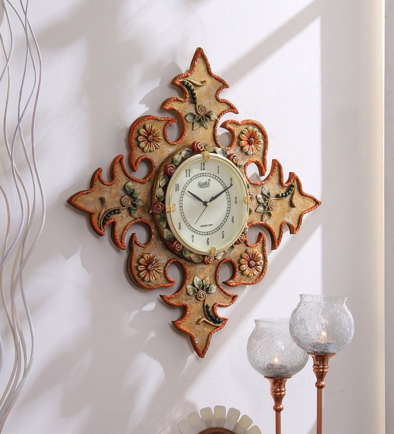 Multicolour Wooden 15 x 0.4 x 15 Inch Royal Hand Made Antique Decorative Designer Wall Mounted Clock by 999Store