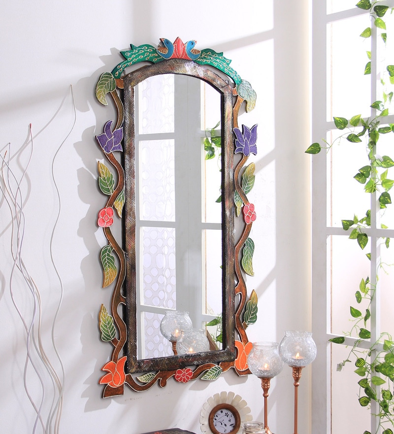Multicolour Wooden Hand Crafted Painted Decorative Wall Mirror by 999Store