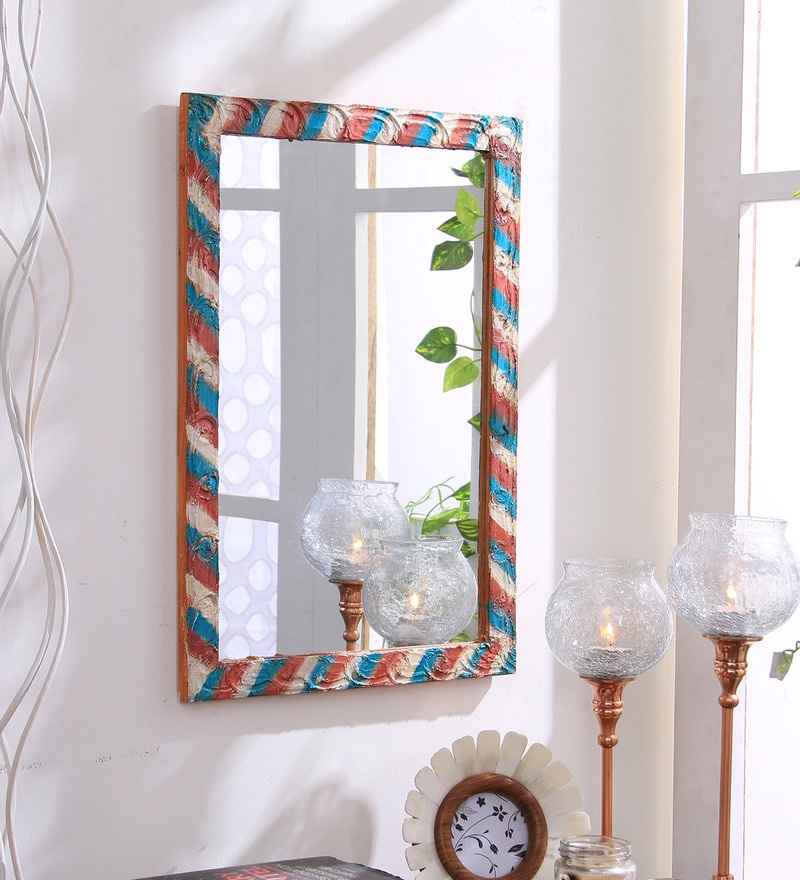 Multicolour Wooden Handmade Decorative Flowers Mirror by 999Store