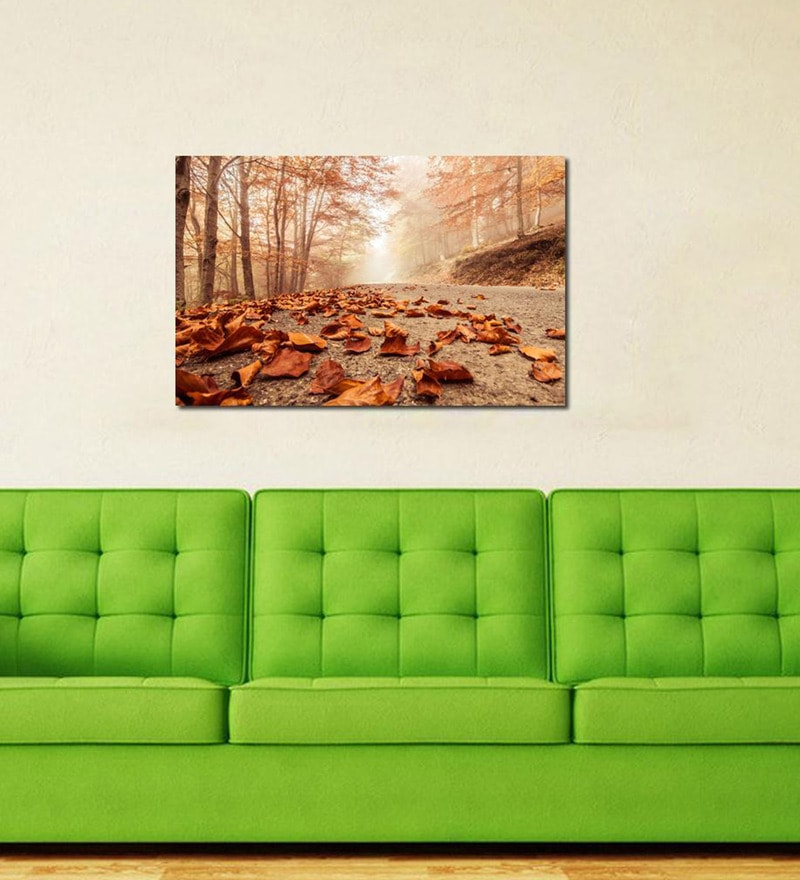 Autumn Leaves  Cotton Canvas 35 x 24 Inch Wooden Framed Digital Art Print by 999Store