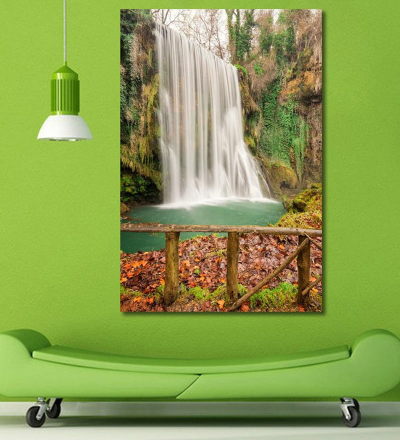 Vinyl 48 x 0.4 x 72 Inch Forest Waterfall Painting Unframed Digital Art Print by 999Store