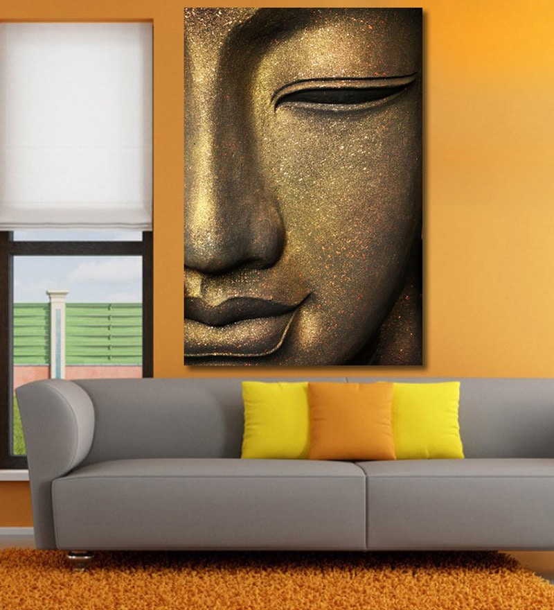 Vinyl 48 x 0.4 x 72 Inch The Face of Buddha Painting Unframed Digital Art Print by 999Store