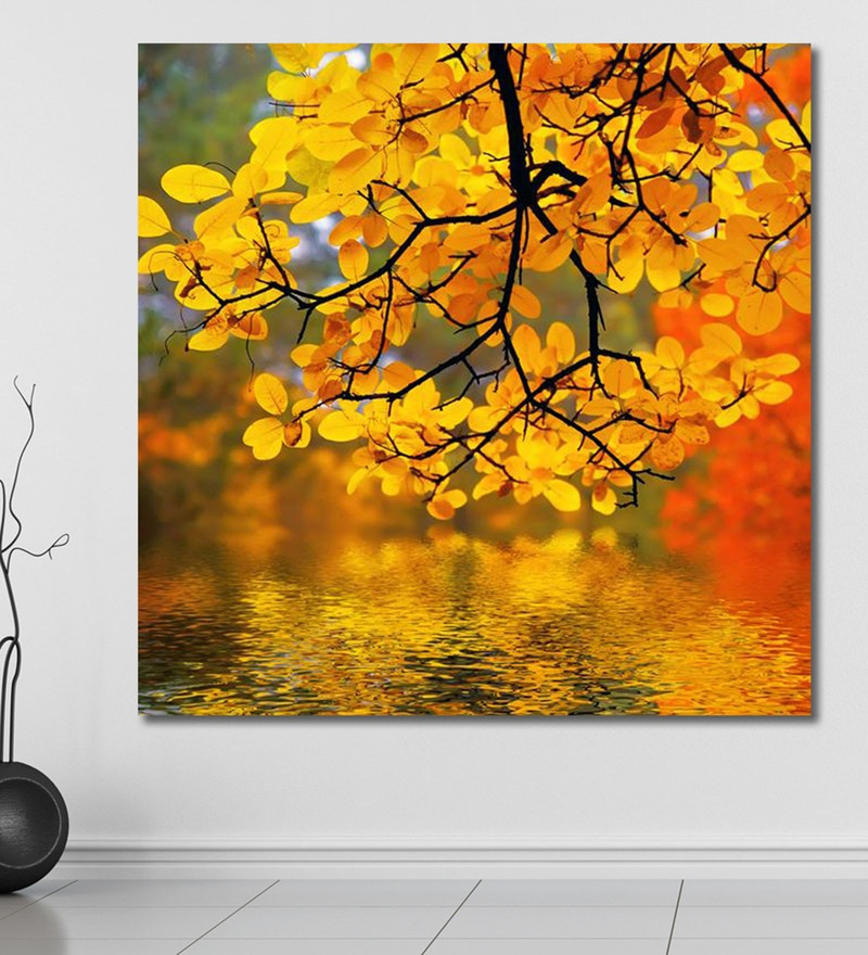 Vinyl 60 x 0.4 x 60 Inch Beautiful Autumn Painting Unframed Digital Art Print by 999Store