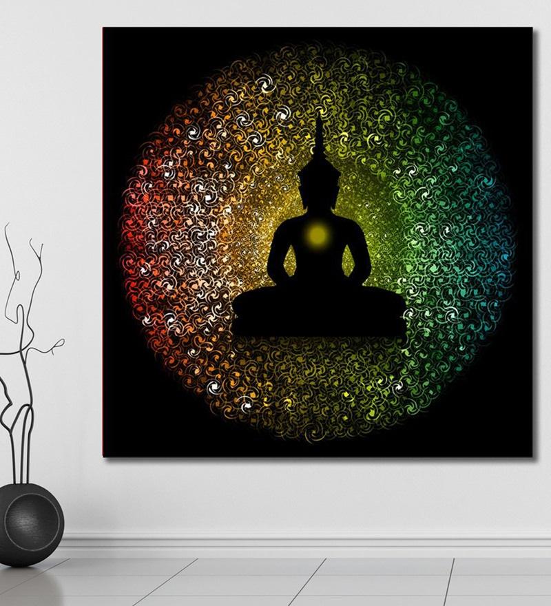 Vinyl 60 x 0.4 x 60 Inch Black Buddha Silhouette Painting Unframed Digital Art Print by 999Store