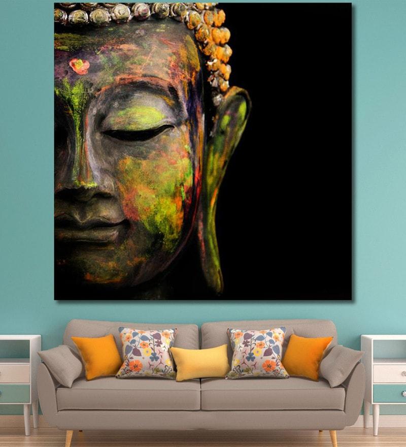 Vinyl 60 x 0.4 x 60 Inch Colourful Buddha Painting Unframed Digital Art Print by 999Store