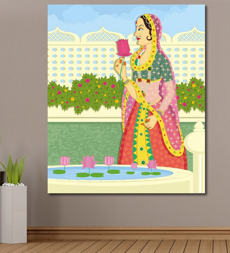 Vinyl 60 x 0.4 x 72 Inch Queen Picking Lotus from Pond in Indian Painting Unframed Digital Art Print by 999Store