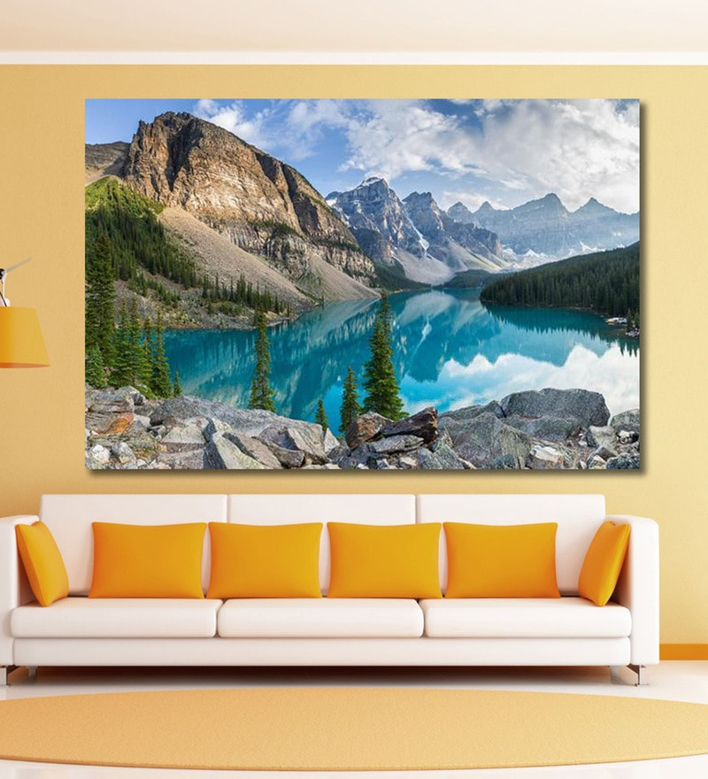 Vinyl 72 x 0.4 x 48 Inch Moraine Lake with The Rocky Mountains Painting Unframed Digital Art Print by 999Store