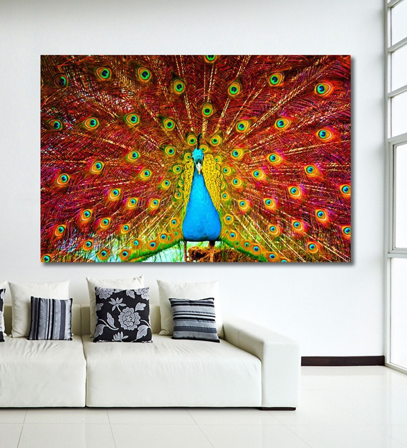 Vinyl 72 x 0.4 x 48 Inch Peacock Painting Unframed Digital Art Print by 999Store
