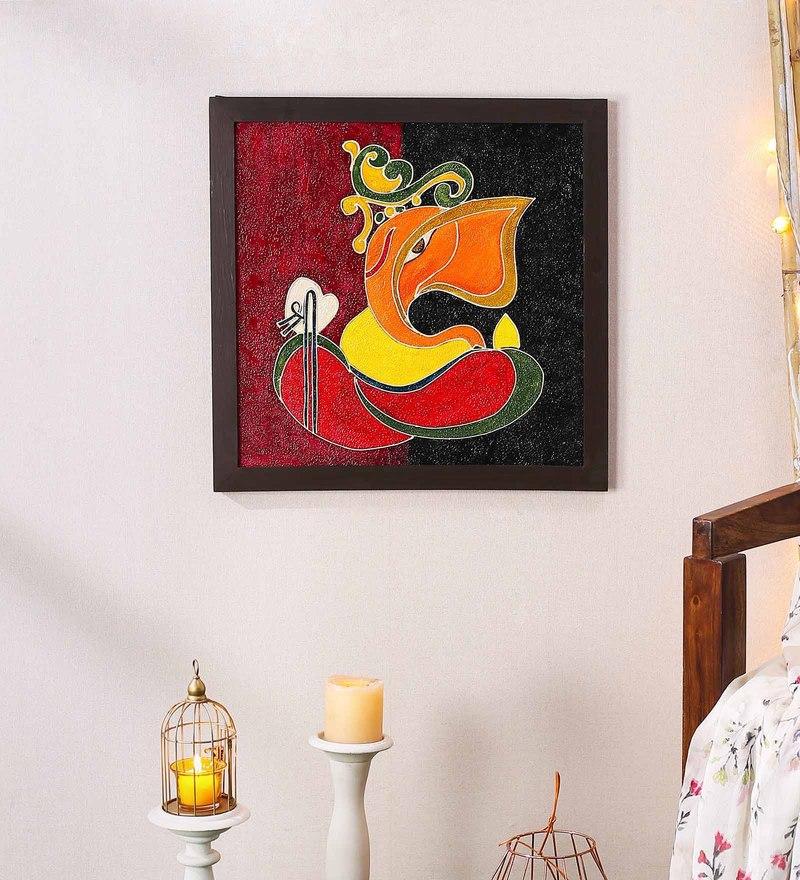 Wood 20 x 0.8 x 20 Inch Handmade Shri Ganesh Textured Wall Art Painting by 999Store