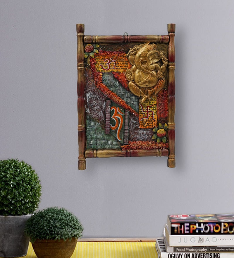 Buy Ganesha Rose Wood 15 X 1 X 20 Inch Framed Wall Painting By