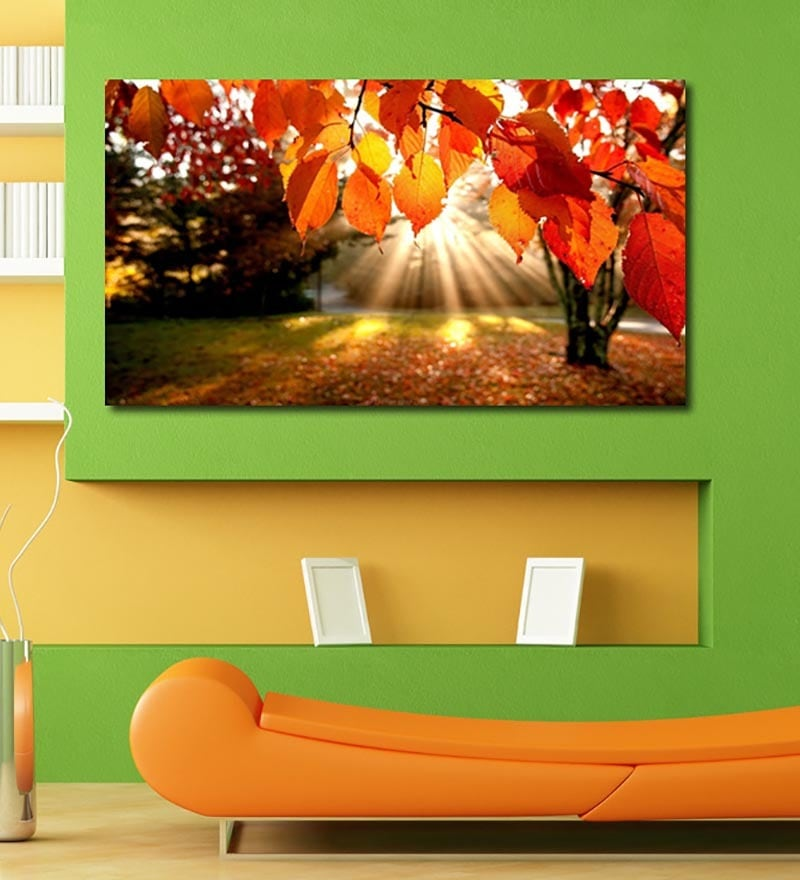 Vinyl Sun Rays Through Amber Leaves Wall Sticker by 999Store