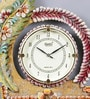Multicolour Wooden 12 x 0.4 x 14.5 Inch Royal Hand Made Antique Decorative Designer Leaf Flower Clock by 999Store