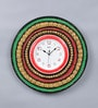 Multicolour Wooden 16 Inch Round Royal Hand Made Antique Decorative Designer with Red Dial Clock by 999Store