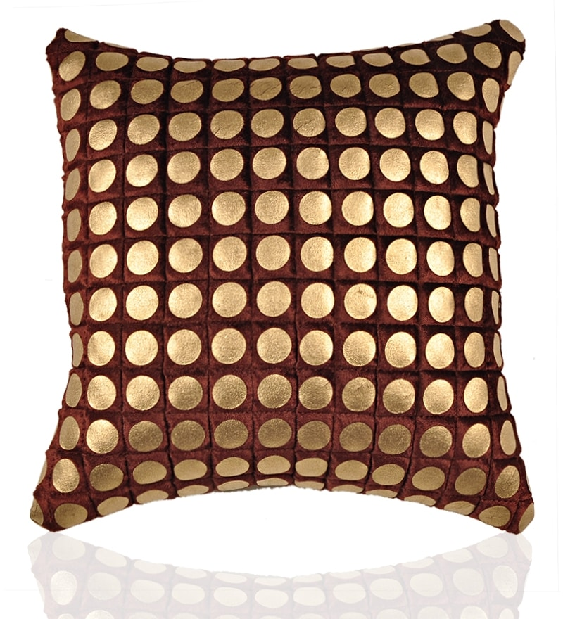Aawrun foil print brown circle quilted cushion covers set for Diwan name wallpaper