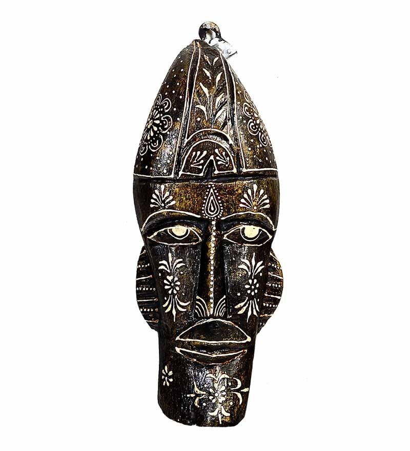 Aapno Rajasthan Black Wooden Handpainted Tribal Mask for Walls