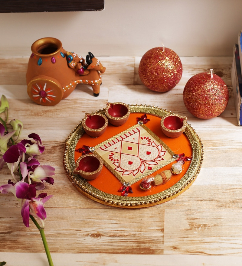 Aapno Rajasthan Orange Wooden Lace Work Traditional Pooja Thali with Diyas