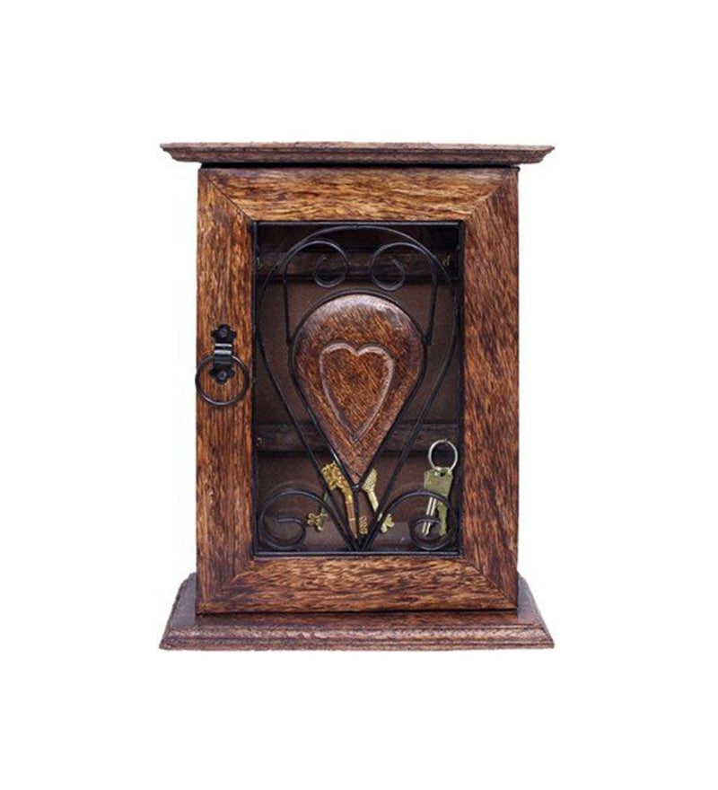 Brown Mango Wood Handcrafted Key Holder by Aarsun Woods